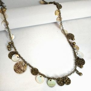 Claire's shell metal bead long adjustable necklace